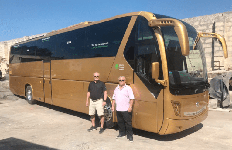 solar cells on tour buses